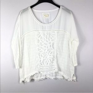 Meadow Rue Boho Blouse Scallop Lace 3/4 Sleeve Top